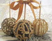 Candy Apple - 3 Gold-White-Black Wedding or Special Event Gourmet Caramel Chocolate Apples
