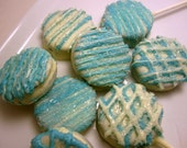 Pretty Blue and White Chocolate Drizzled Oreo Pops - 18