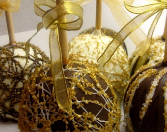 SPECIAL ORDER FAVORS -Gourmet Chocolate Apples-Set of 12 White, Gold and Chocolate Swirls and Shimmers