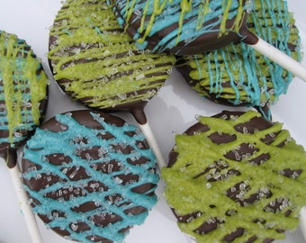 24 Lime Green & Teal Chocolate Covered Oreos - Assorted Styles