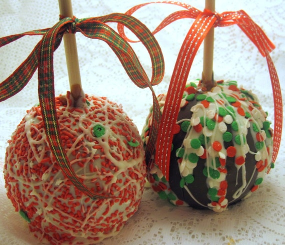 Two Holiday-Christmas Gourmet Chocolate Caramel Apples