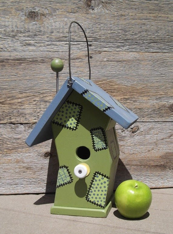 Crooked birdhouse, whimsical birdhouse, wood birdhouse, lime green and slate blue, painted-on patchwork, porcelain knob