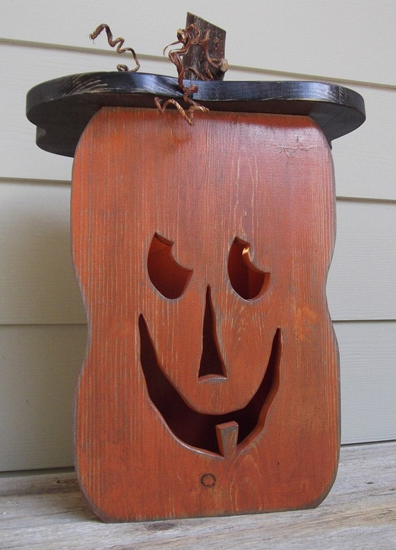 Wooden Pumpkin Light Box Jack O Lantern Light By Milepost7