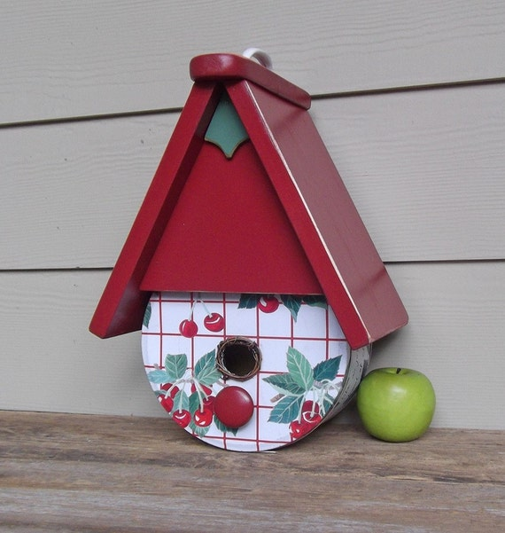 Cookie tin birdhouse whimsical birdhouse red birdhouse for Can you recycle cookie tins