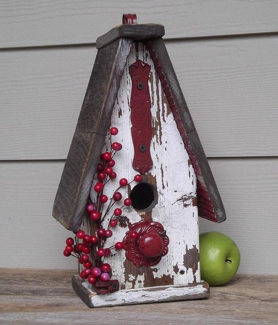 Shabby Chic Birdhouse, Rustic Birdhouse, Primitive Birdhouse. Peely Paint, Red Berries, Decorative Birdhouse, Outdoor Birdhouse, Recycled