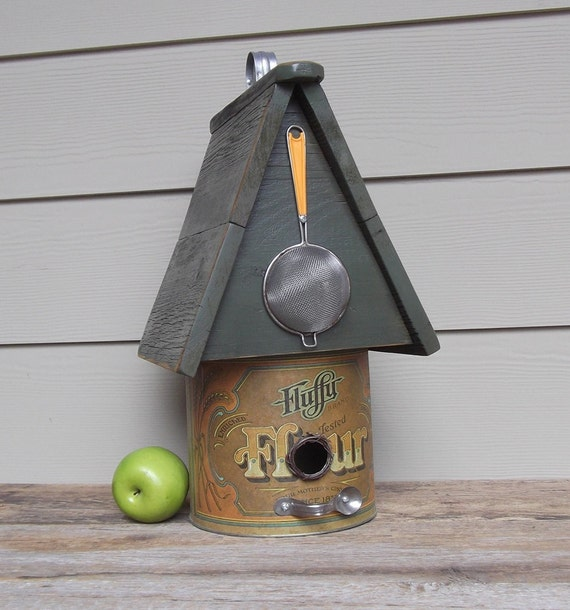 Reclaimed Vintage Flour Canister Birdhouse, Whimsical Birdhouse, Recycled Utensils, Decorative Birdhouse, Outdoor Birdhouse, OOAK