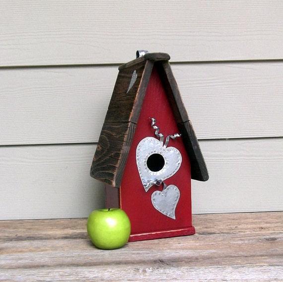 Red Birdhouse, Primitive Birdhouse, Wood Outdoor Birdhouse, Decorative Birdhouse, Galvanized  Hearts, Recycled Wood, Rustic Birdhouse