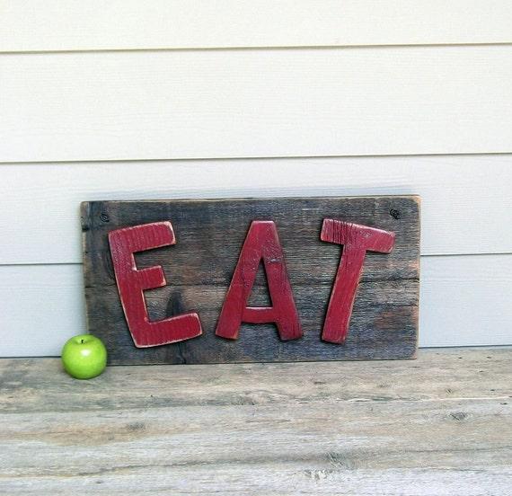 Rustic Wood Sign, Primitive Kitchen Sign, Reclaimed Barn Board  Sign, Red Sign,  Diner Sign, Cafe Sign, One of a Kind Sign