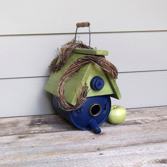 Vintage Gas Can Birdhouse, Repurposed Blue and Lime Green Birdhouse, Whimsical Birdhouse, Recycled, Reclaimed, Outdoor Birdhouse, Rustic