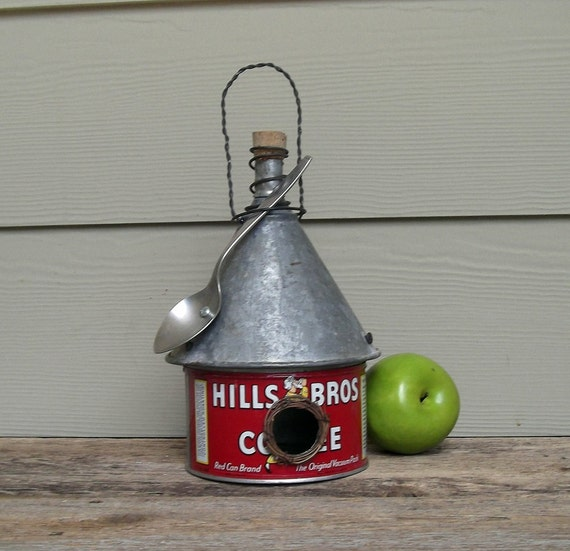 Vintage Coffee Can Birdhouse, Whimsical Birdhouse, Funnel Roof Birdhouse, Red Birdhouse, Repurposed Birdhouse, Recycled, Reclaimed, Spoon