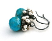 Sleeping Beauty Turquoise and Pearl Dangle Drop Earrings Oxidized Silver
