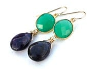 Earrings Green Onyx and Purple Amethyst Gold Filled - Gift for her, Under 50 dollars, Everyday wear, Long Dangles