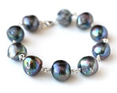 Gorgeous Peacock Pearl Bracelet Sterling Silver - Fashion Accessories, Under 50 dollars