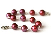 Cranberry Pearl Bracelet Sterling Silver Filled - Summer Fashion, Raspberries, Fruit, Under 25 dollars
