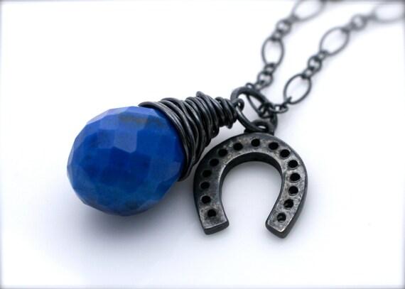 Blue Ribbon Horseshoe Necklace Oxidized Silver