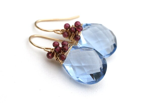Clearance Sale Periwinkle Blue Quartz and Red Garnet Earrings 14k Gold Filled Wire - Affordable Fashion, Unique, Under 50 dollars