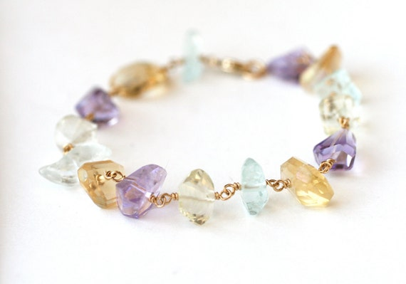 Clearance Sale Bracelet Spring Multi Color Quartz Nuggets 14k gold filled -  One of a kind, Fashion Accessories, Under 50 dollars