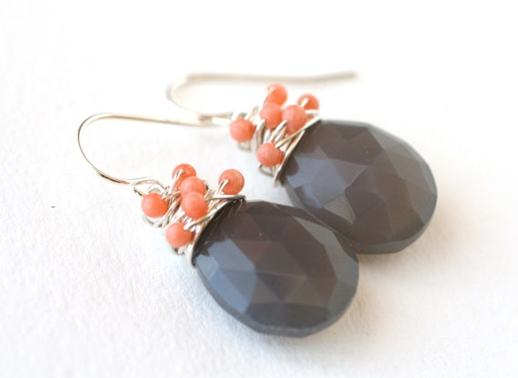 Earrings Grey Chalcedony and Pink Coral Sterling Silver - Fashion, Under 50 dollars, Gift for her