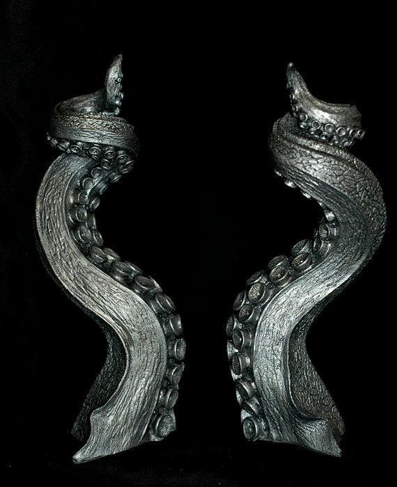 Pair ofTentacle Candlestick Holders, Pewter Finish