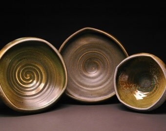 Triangle, Square, and Pentagon Shaped Altered Wood Fired Bowl Set with Olive Colored Ochre Celadon Glaze