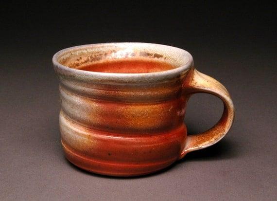 Short Wood Fired Coffee Mug with Shino Line, Awesome Flashing, and Comfortable Handle 69