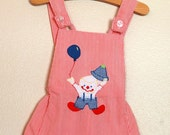 Vintage Striped Romper with Clown Applique 0 to 6 months--TREASURY FEATURED