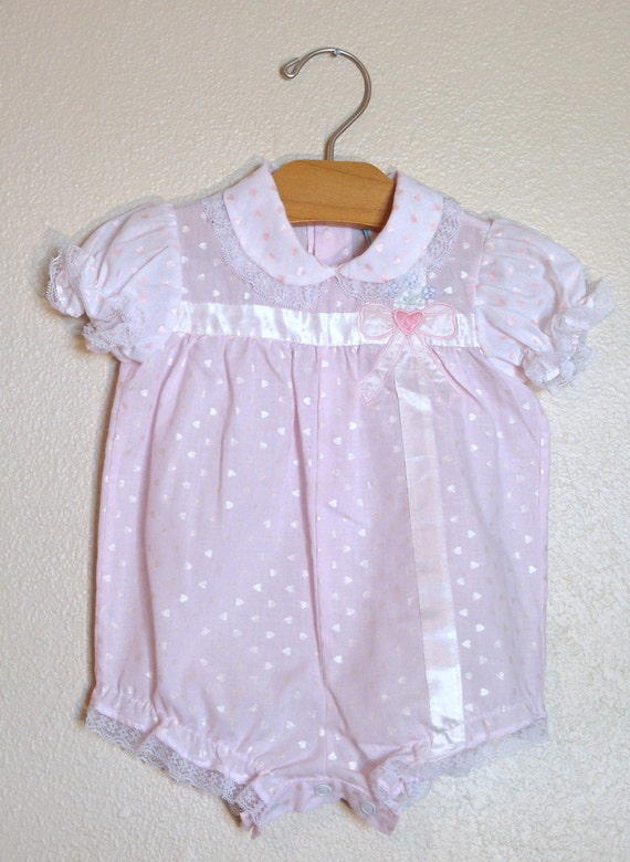Vintage Girls Romper with Pink Hearts and Lace Trim 6-9 months