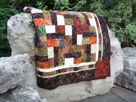 Super Sale. Very Large Lap Quilt in Autumn Equinox. READY TO SHIP.  Wedding Gift.