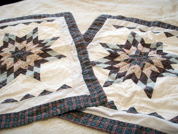 SALE. Vintage Quilted Pillow Shams. Primitive  Country Cottage, Cottage Chic. Set of two.