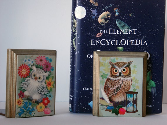 SALE 20% off. Whimsical Owl Bookends. Great for A Bright, Cheery Home or Kid's Room.