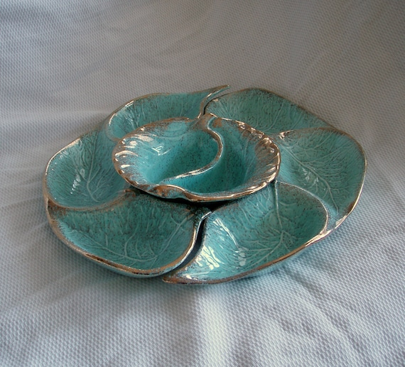 Vintage Serving Dish from the 1940's. Robin Egg Blue. French Cottage Chic