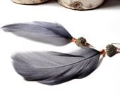 Feather Earrings Gray