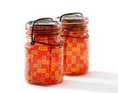 vintage atlas & ball glass top mason jars .. handmade solar lights : pint size decoupage - red square mod multi set of two