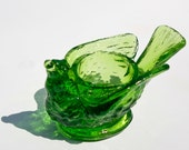 degenhart glass bird & berry open salt cellar : lime green grass summer bright