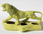 chartreuse lime green retro vintage tiger cat planter