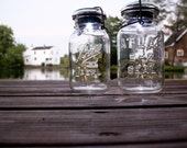 minimalist wedding decor - set of twelve handmade solar lights vintage atlas & ball glass top mason jars .. quart size clear