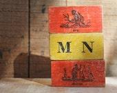 antique wood blocks : children toy animal orange yellow red indian ape alphabet