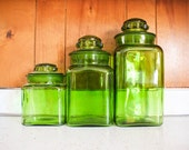 green glass kitchen canister set : vintage .. three