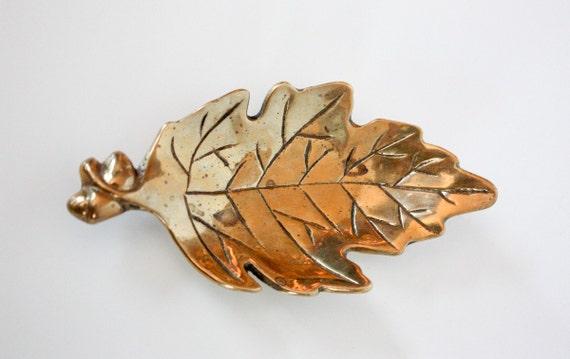 Autumn Decor Vintage Brass : Bronze Oak Leaf .. Shabby Cottage