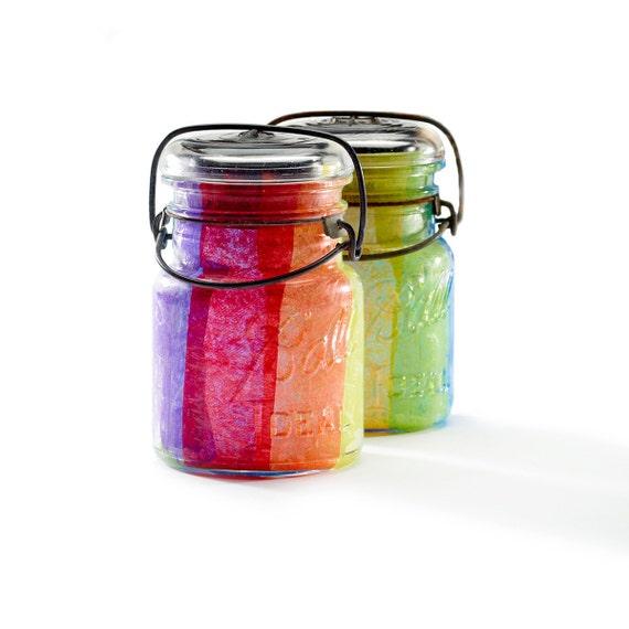 vintage atlas & ball glass top mason jars .. handmade solar lights : pint size decoupage - rainbow roy g biv set of two