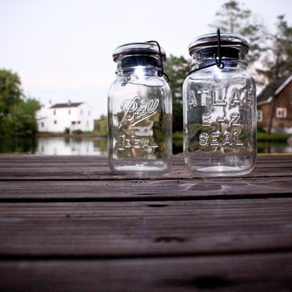 vintage atlas & ball glass top mason jars .. handmade solar lights : quart size clear set of two