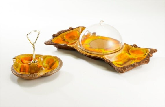groovy seventies party snack set : orange green yellow brown - nuts, cheese, crackers .. faux bois