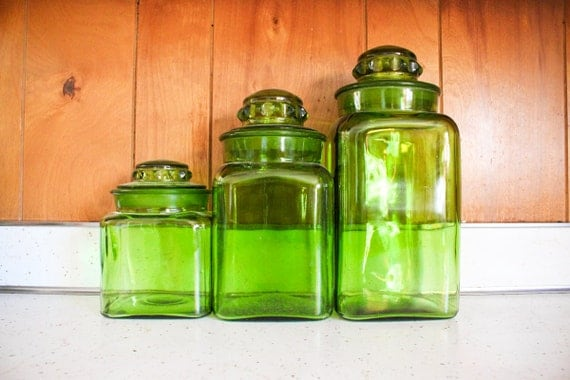 green canister sets kitchen green glass kitchen canister set vintage three 3972