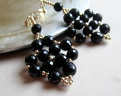 Black Earrings Yellow Gold Jewelry Beaded Jewellery Unique Handcrafted Elegant Glam Fashion Noir ER-25