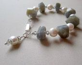 Labradorite Pearl Bracelet Sterling Silver Jewelry Natural Gemstone Jewellery Gray Grey June Birthstone Chunky Crystal Charm B-67