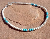 White Bracelet Sterling Silver Jewelry Turquoise Howlite Natural Gemstone Jewellery Skinny Layer Thin Stack B-TBM