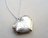 Vintage Heart Locket Necklace Sterling Silver Jewelry Valentine Locket Sterling
