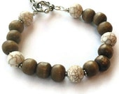 Brown Wood Bracelet White Turquoise Bracelet Jewelry Silver Jewellery Natural Gemstone Earth Tones Layer Stack Minimal Everyday B-218