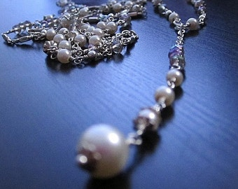Pearl Necklace - Rosary Jewellery - Sterling Silver - Long and Layered - White Bridal Jewelry