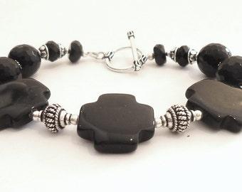 Black Onyx Bracelet Celtic Cross Sterling Silver Jewelry Natural Gemstone Jewellery Unique Classic Fashion B-11